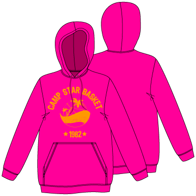 SWEAT CAPUCHE ? ROSE FLUO & LOGO ORANGE FLUO ★ 30€ ★